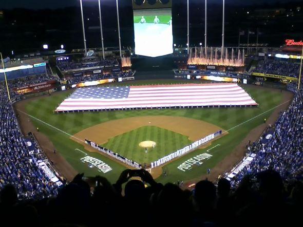 Kauffman Stadium during the National Anthem, ALCS Game 3