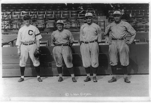 Bill Wambsganss, Pete Kilduff, Clarence Mitchell and Otto Miller (Library of Congress)