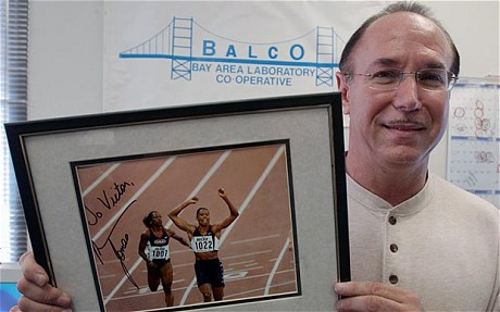 Victor Conte, owner of Balco with a signed photo of one of his former clients Marion Jones (The Telegraph; AP)