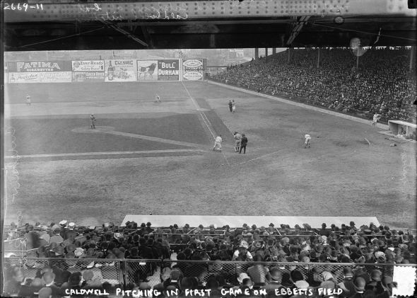 The first exhibition game at Ebbets Field in 1913 (Wikimedia Commons)
