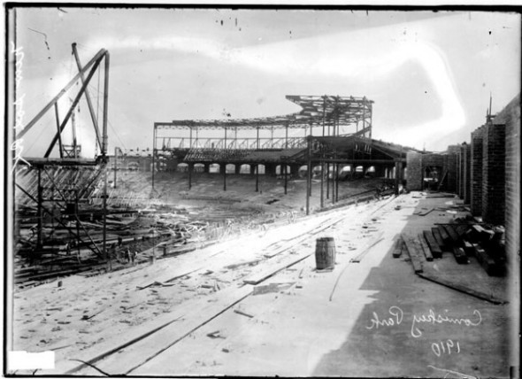 Comiskey Park under construction in 1910 (Chicago Daily News negatives collection, Chicago History Museum)