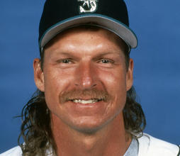 Head and shoulders of Seattle Mariners Randy Johnson 1994 (Baseball HOF)