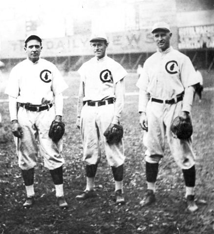 From left: Joe Tinker, Johnny Evers, and Frank Chance (Lawrence Journal World)
