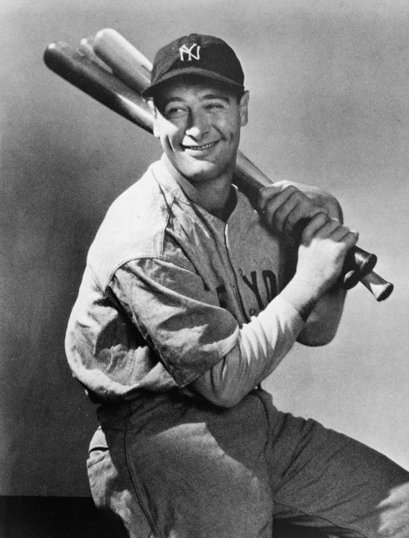 Lou Gehrig Holding Three Baseball Bats