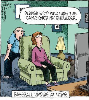 Baseball umpire at home