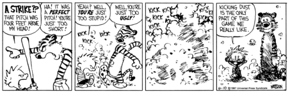 Calvin Hobbes kicking dust