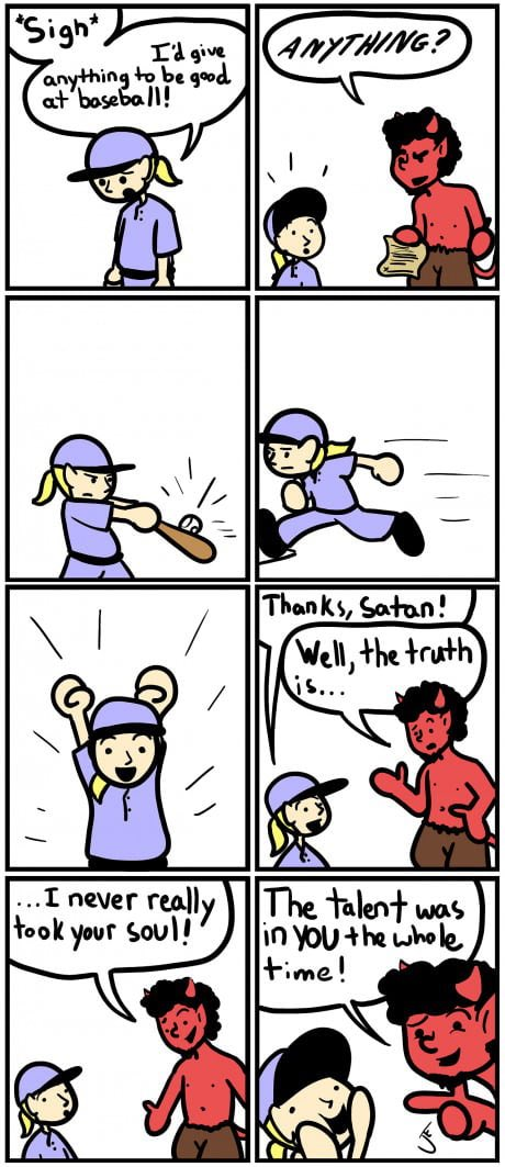 Baseball comic devil