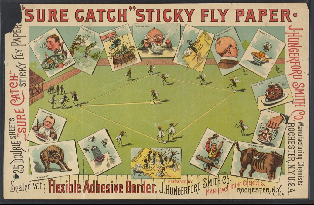 Sure Catch Fly paper baseball advertisement - LoC