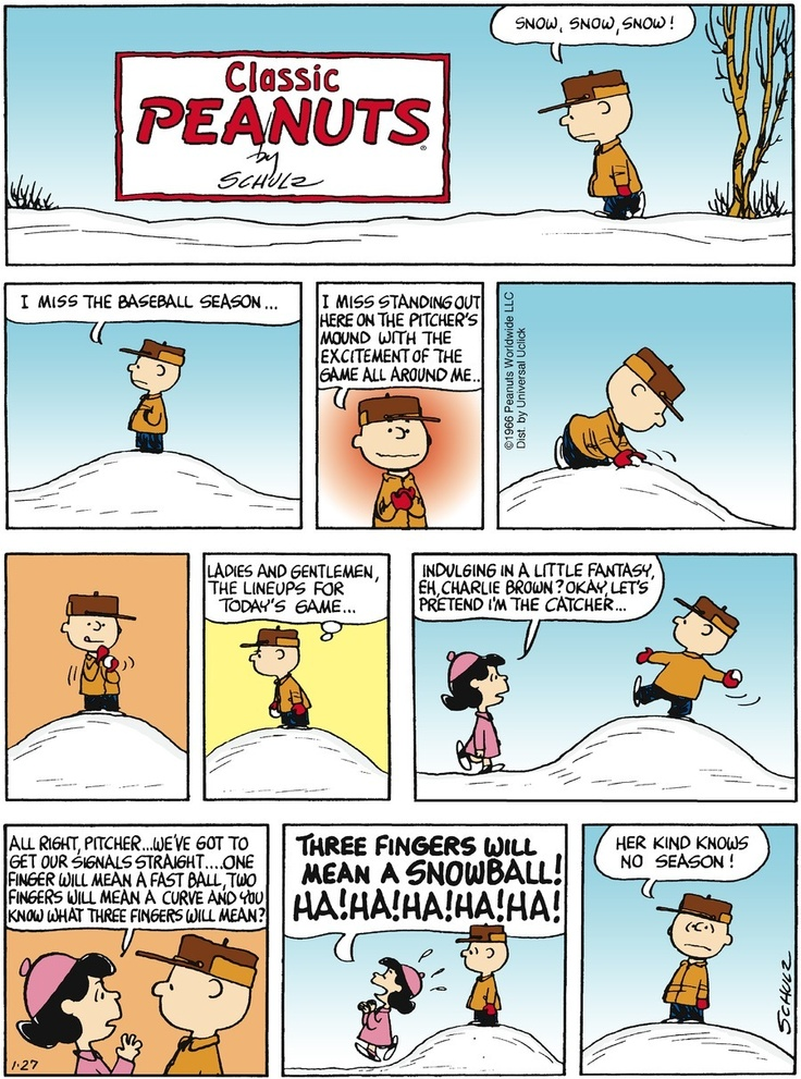 charlie brown baseball snow
