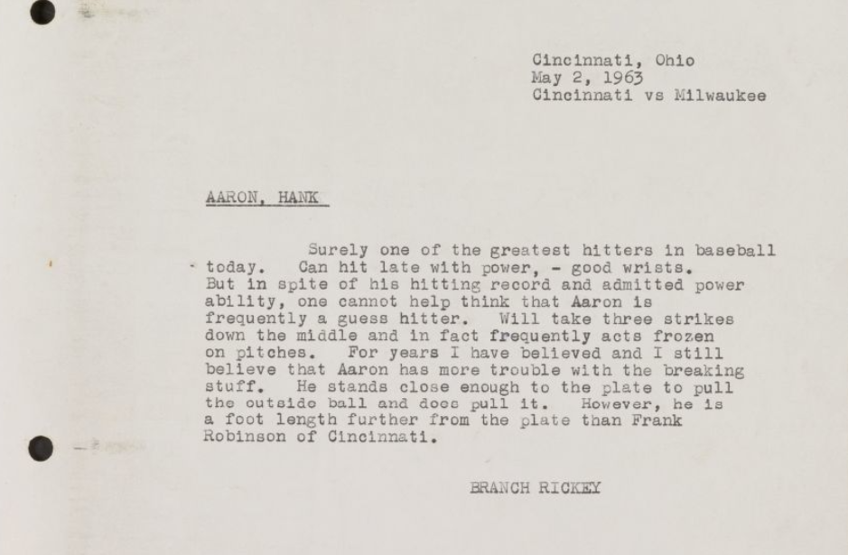 Branch Rickey scouting report on Hank Aaron